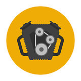 Car engine flat icon