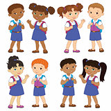 Set boy and girl with backpacks african pupil stay cartoon school india, isolated vector