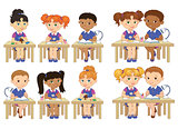Set funny pupils sit on desks read draw clay cartoon illustration