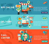 Buy Online, Call Center And Delivery Concept