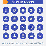 Server icon set. Material circle buttons
