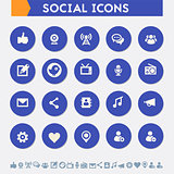 Social icon set. Material circle buttons