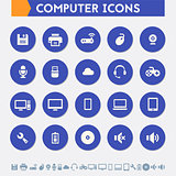 Computer icon set. Material circle buttons
