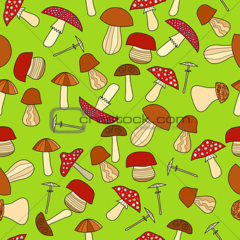 abstract doodle mushroom seamless pattern