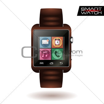 Modern shiny smart watch with leather bracelet app icons isolated on white