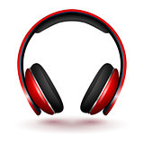 Realistic Red Vector headphones isolated on white