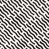 Vector Seamless Hand Drawn Daigonal Wavy Lines Geometric Pattern