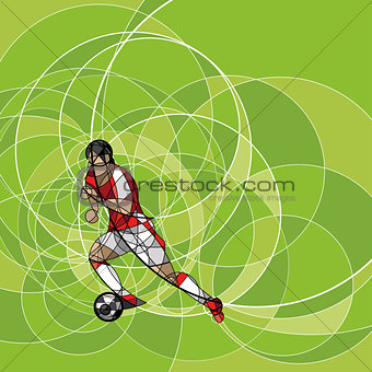Abstract soccer player on the green background