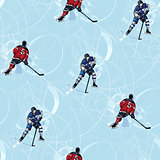 Ice hockey players seamless pattern