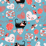 pattern of cat lovers hearts