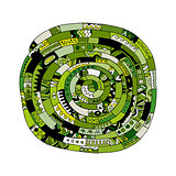 Ethnic spiral mandala green, sketch for your design