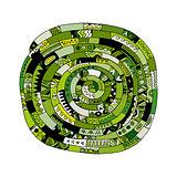 Ethnic spiral mandala green, sketch for your design