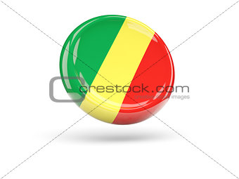 Flag of republic of the congo. Round icon