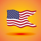 Illustration of a waving flag of the United States of America. Independence Day