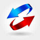 Red and blue arrows are moving towards