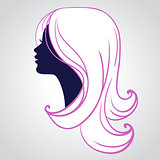 Woman face silhouette isolated