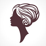 Woman face silhouette. Female head