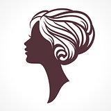 Woman face silhouette. Female head