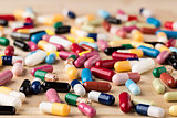 Heap of medicine capsules and pills