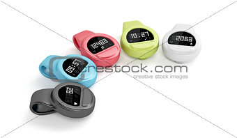 Clip-on activity trackers on white