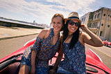 Happy Couple Tourist Girls On Vintage Car Havana Cuba
