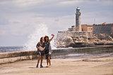 Tourist Girls Taking Selfie With Mobile Phone In Havana Cuba