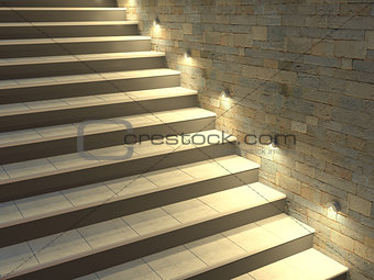 Modern staircase with backlit steps. Soft night lighting. 3d illustration.