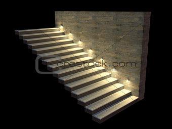 Modern staircase with backlit steps. Soft night lighting. 3d illustration.