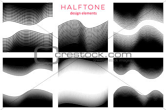 Abstract vector halftone design elements
