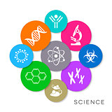 Modern colorful vector science icons