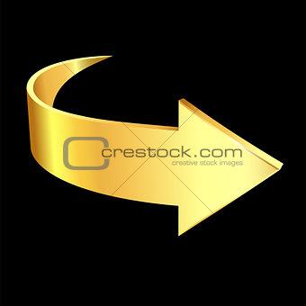 Gold arrow on black background