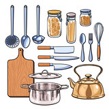 kitchen utensils in a color sketch style