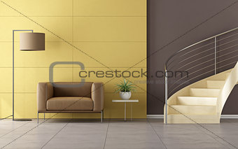 Modern room with wooden staircase