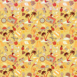 Cartoon hand-drawn doodles on the subject of summer holidays theme seamless pattern.