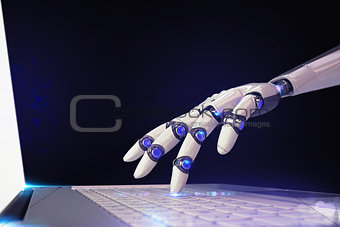 3D Rendering futuristic robot and technology
