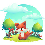 Fox in the grass - a children's cartoon illustration