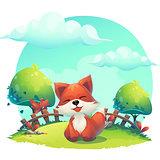 Fox in the grass - a children's cartoon illustration