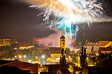 Town of Krizevci fireworks evening view