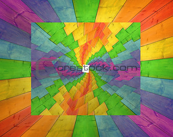 abstraction from wooden boards in multicolored pattern