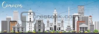Caracas Skyline with Gray Buildings and Blue Sky.