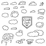 Set of Hand Drawn Doodle Clouds. Vector Illustration.
