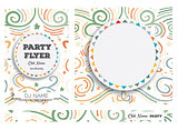 Club Flyers with copy space and abstract swirl background.