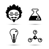 Professor and science icons vector illustration