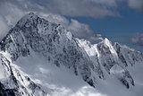 Snow-covered mountain tops. Russia, Caucasus.