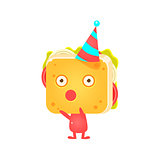 Sandwich Character In Party Hat Booing