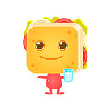 Sandwich Character With Glass Of Milk
