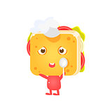 Sandwich Character In Coking Hat With Spoon