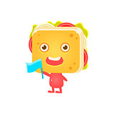 Sandwich Character Cheering With Flag