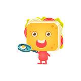 Sandwich Character Frying Eggs