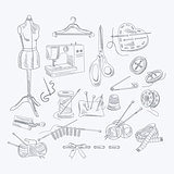 Tailor Shop Hand Drawn Equipment Set